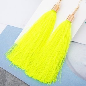 Long Neon Yellow Tassel Earrings w/ Gold Hardware
